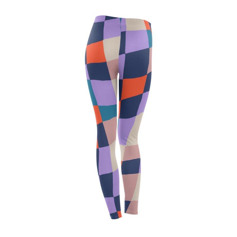 Warped Checkerboard Orange/Blush/Navy Women's Bottoms by Peach Things Artist Shop