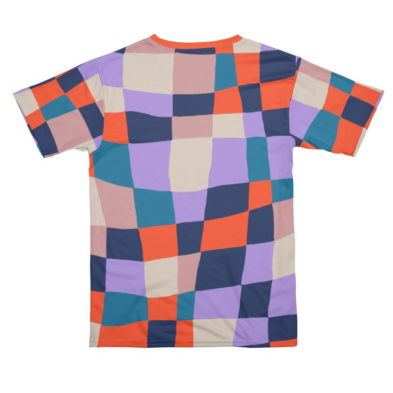 Warped Checkerboard Orange/Blush/Navy Men's Cut & Sew by Peach Things Artist Shop