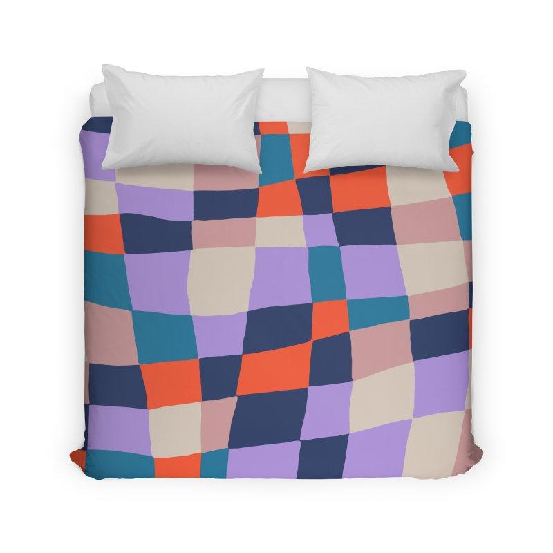 Warped Checkerboard Orange/Blush/Navy Home Duvet by Peach Things Artist Shop