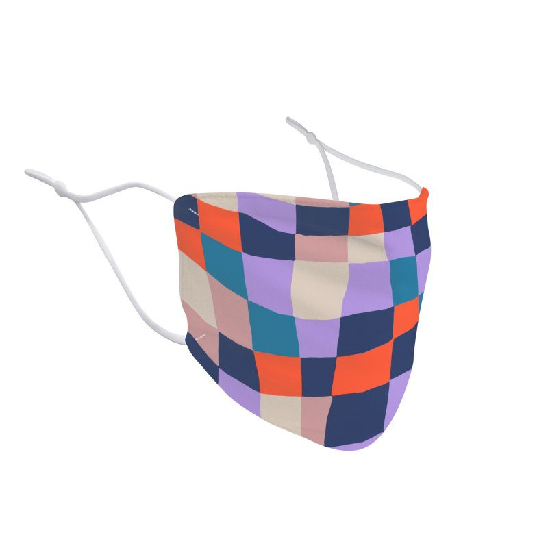 Warped Checkerboard Orange/Blush/Navy Accessories Face Mask by Peach Things Artist Shop