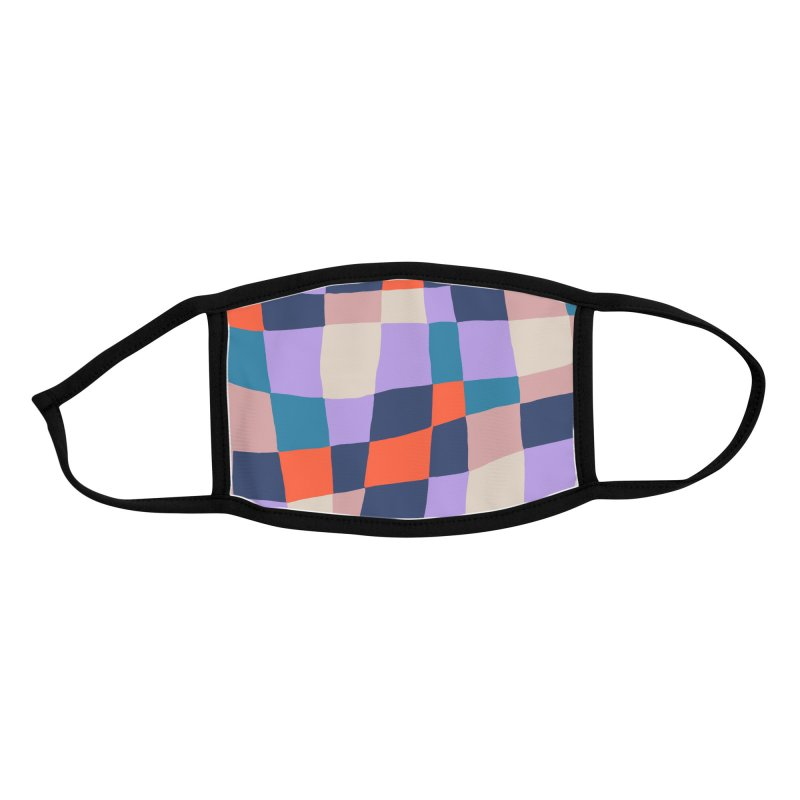 Warped Checkerboard Orange/Blush/Navy Accessories Face Mask by Peach Things Artist Shop