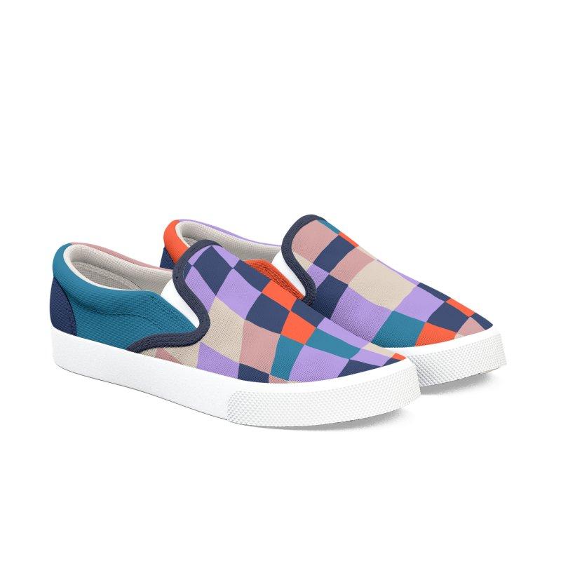 Warped Checkerboard Orange/Blush/Navy Men's Shoes by Peach Things Artist Shop
