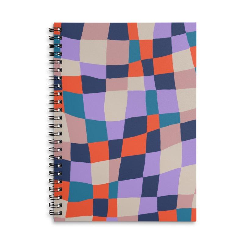Warped Checkerboard Orange/Blush/Navy Accessories Notebook by Peach Things Artist Shop