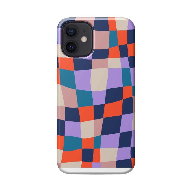 Warped Checkerboard Orange/Blush/Navy Accessories Phone Case by Peach Things Artist Shop
