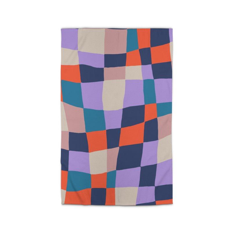 Warped Checkerboard Orange/Blush/Navy Home Rug by Peach Things Artist Shop