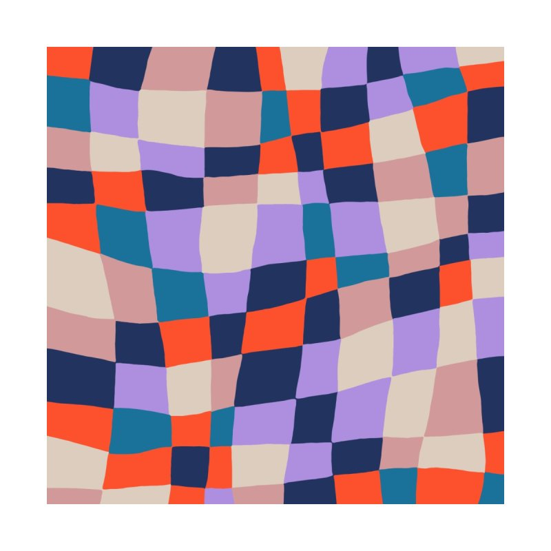 Warped Checkerboard Orange/Blush/Navy Home Bath Mat by Peach Things Artist Shop