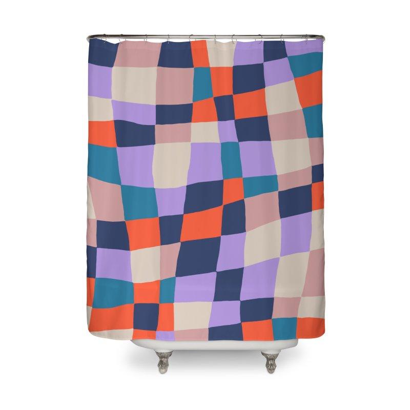 Warped Checkerboard Orange/Blush/Navy Home Shower Curtain by Peach Things Artist Shop