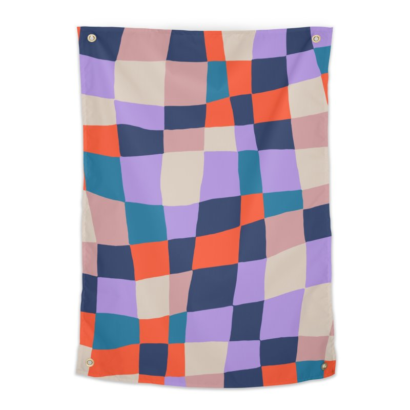 Warped Checkerboard Orange/Blush/Navy Home Tapestry by Peach Things Artist Shop
