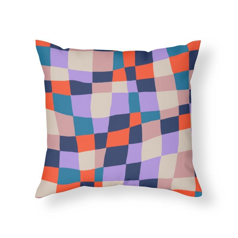 Warped Checkerboard Orange/Blush/Navy Home Throw Pillow by Peach Things Artist Shop