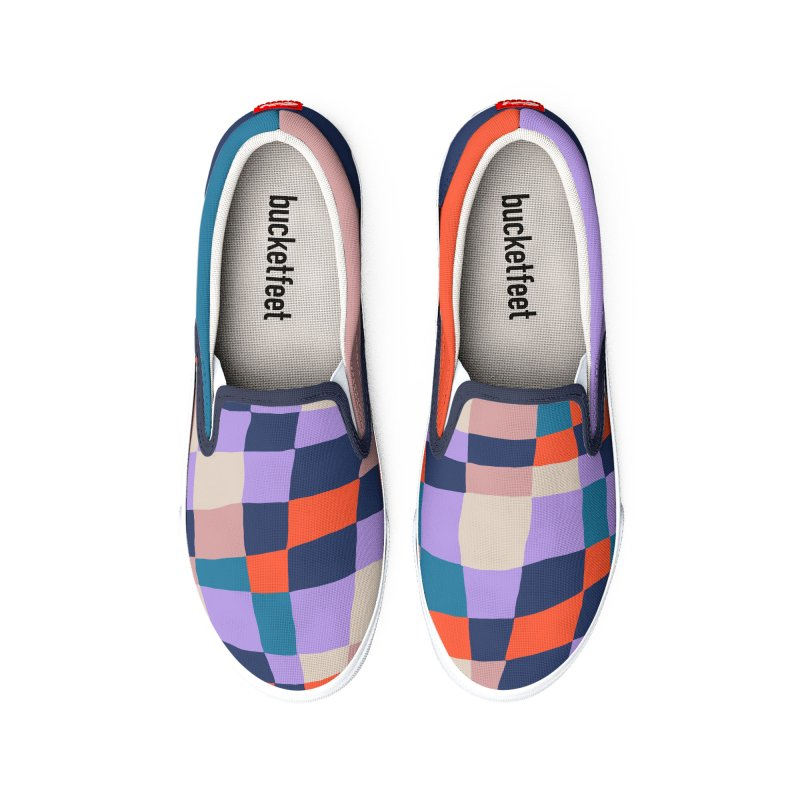 Warped Checkerboard Orange/Blush/Navy Women's Shoes by Peach Things Artist Shop