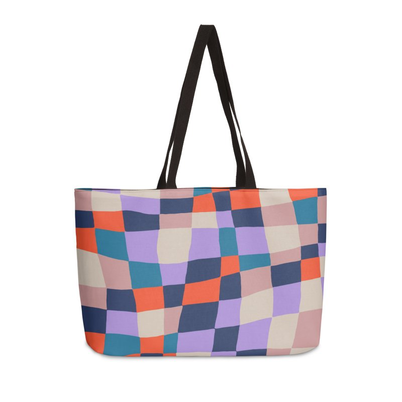 Warped Checkerboard Orange/Blush/Navy Accessories Bag by Peach Things Artist Shop