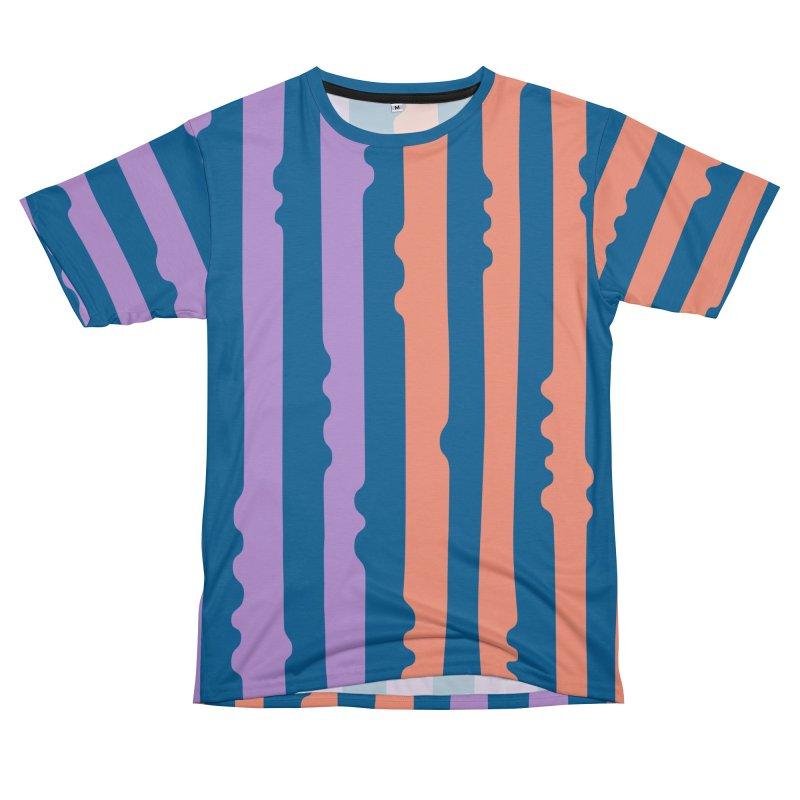 Bumpy Stripe- Blue/Coral/Lilac Men's Cut & Sew by Peach Things Artist Shop