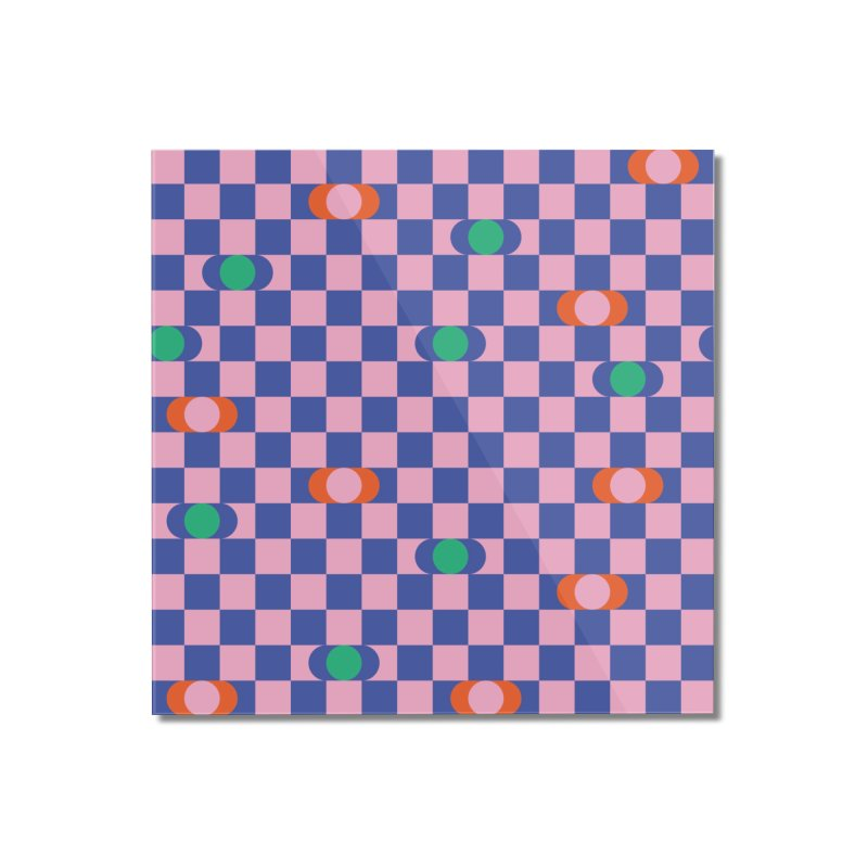 Eclipse Checkerboard Home Mounted Acrylic Print by Peach Things Artist Shop