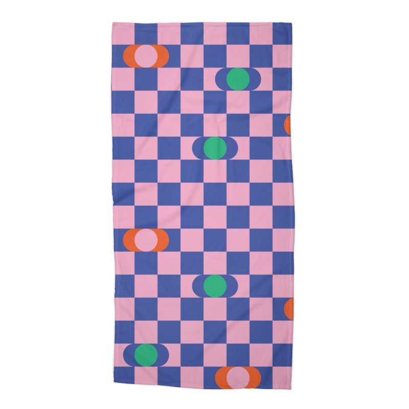 Eclipse Checkerboard Accessories Beach Towel by Peach Things Artist Shop