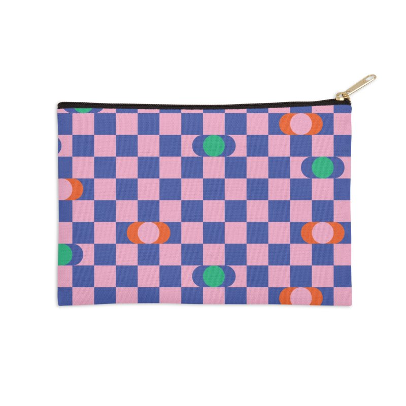 Eclipse Checkerboard Accessories Zip Pouch by Peach Things Artist Shop