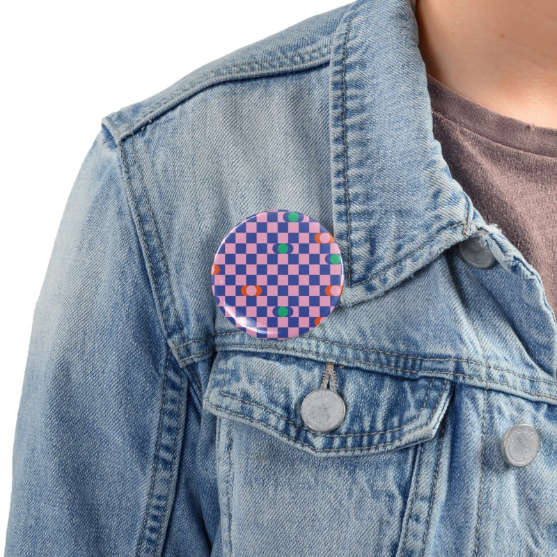 Eclipse Checkerboard Accessories Button by Peach Things Artist Shop