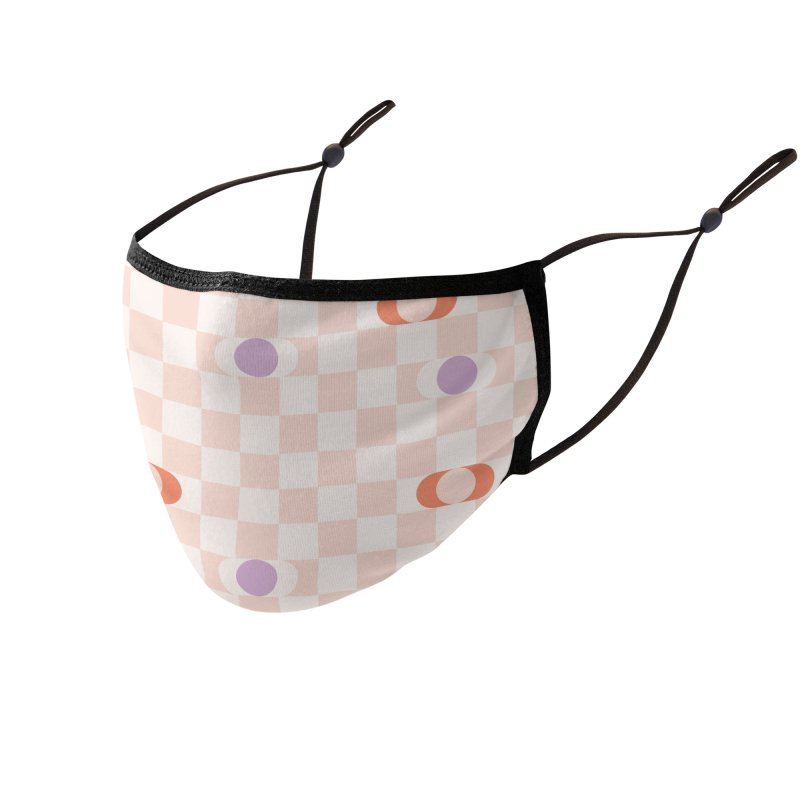 Pastel Eclipse Checkerboard Accessories Face Mask by Peach Things Artist Shop