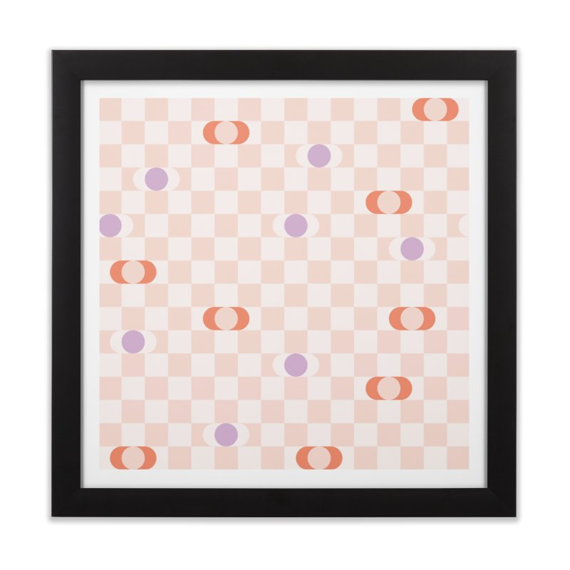 Pastel Eclipse Checkerboard Home Framed Fine Art Print by Peach Things Artist Shop