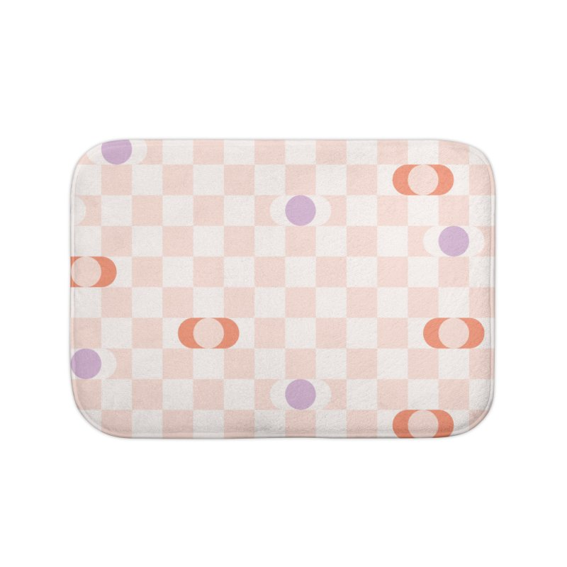 Pastel Eclipse Checkerboard Home Bath Mat by Peach Things Artist Shop