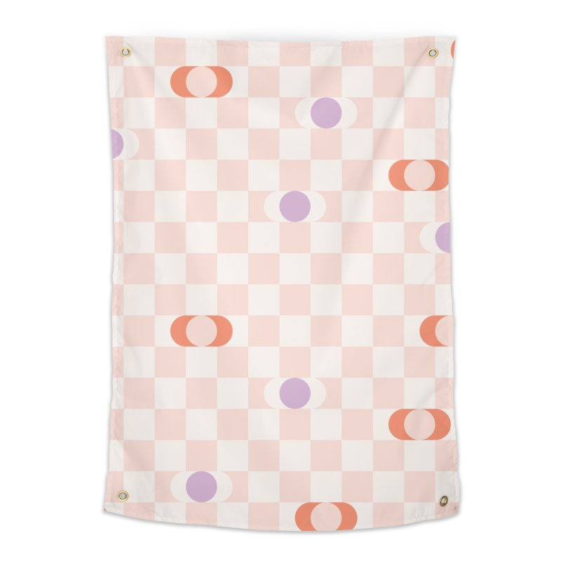 Pastel Eclipse Checkerboard Home Tapestry by Peach Things Artist Shop