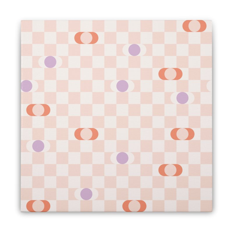 Pastel Eclipse Checkerboard Home Stretched Canvas by Peach Things Artist Shop