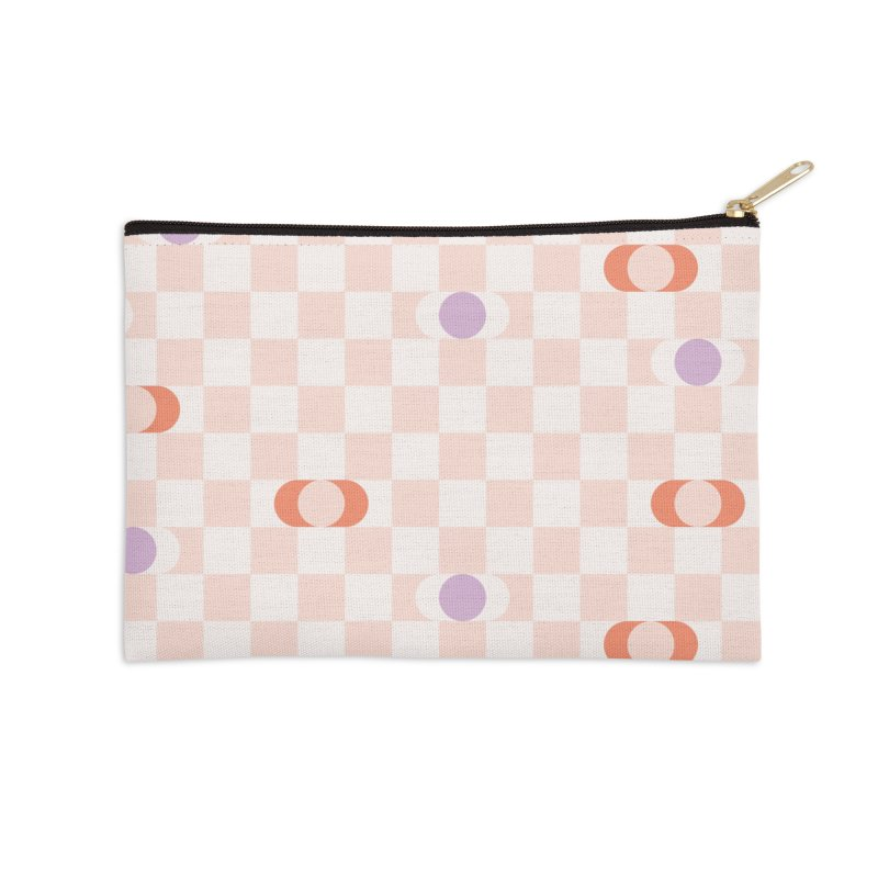 Pastel Eclipse Checkerboard Accessories Zip Pouch by Peach Things Artist Shop