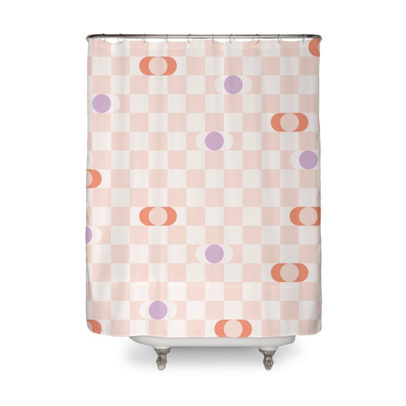 Pastel Eclipse Checkerboard Home Shower Curtain by Peach Things Artist Shop
