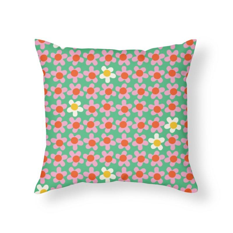 Daizy Field Home Throw Pillow by Peach Things Artist Shop