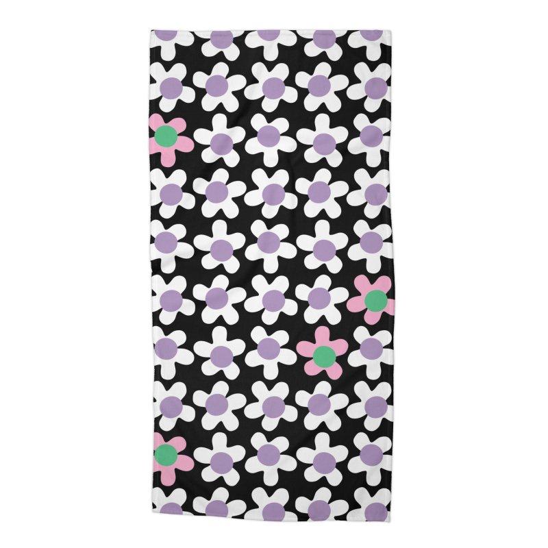 Black & White Daizy Field Accessories Beach Towel by Peach Things Artist Shop