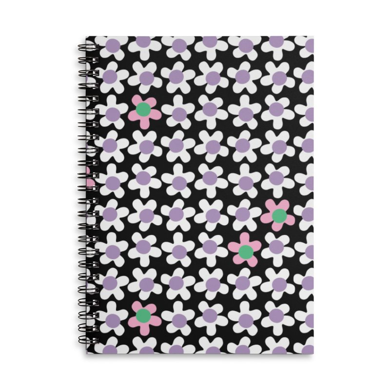 Black & White Daizy Field Accessories Notebook by Peach Things Artist Shop