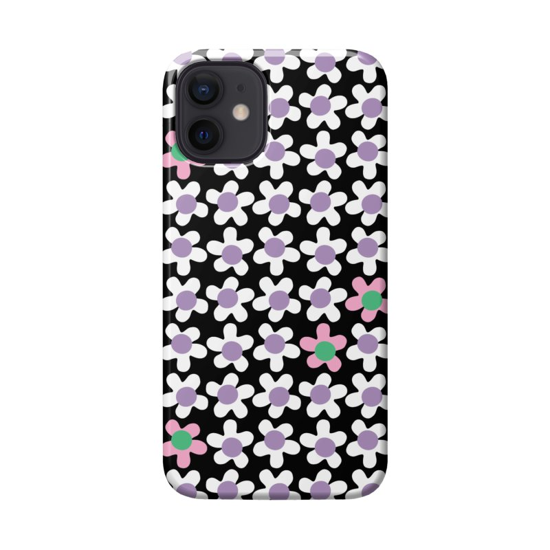Black & White Daizy Field Accessories Phone Case by Peach Things Artist Shop