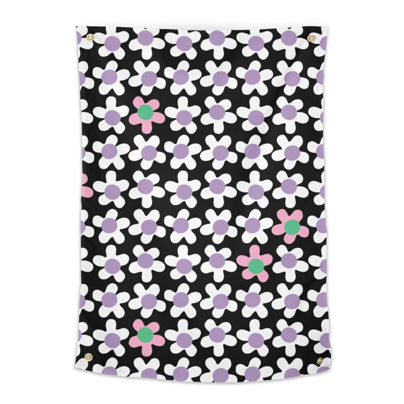 Black & White Daizy Field Home Tapestry by Peach Things Artist Shop