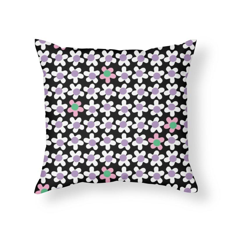 Black & White Daizy Field Home Throw Pillow by Peach Things Artist Shop