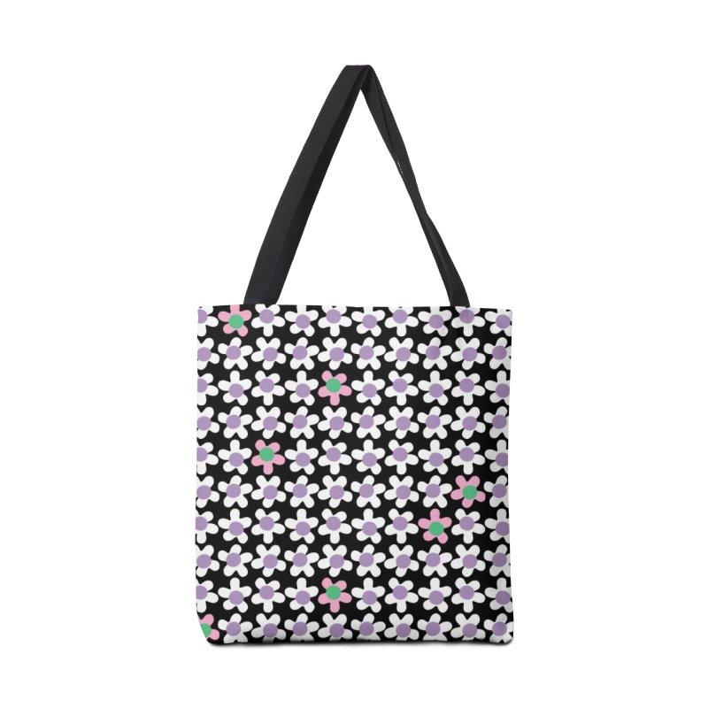 Black & White Daizy Field Accessories Bag by Peach Things Artist Shop