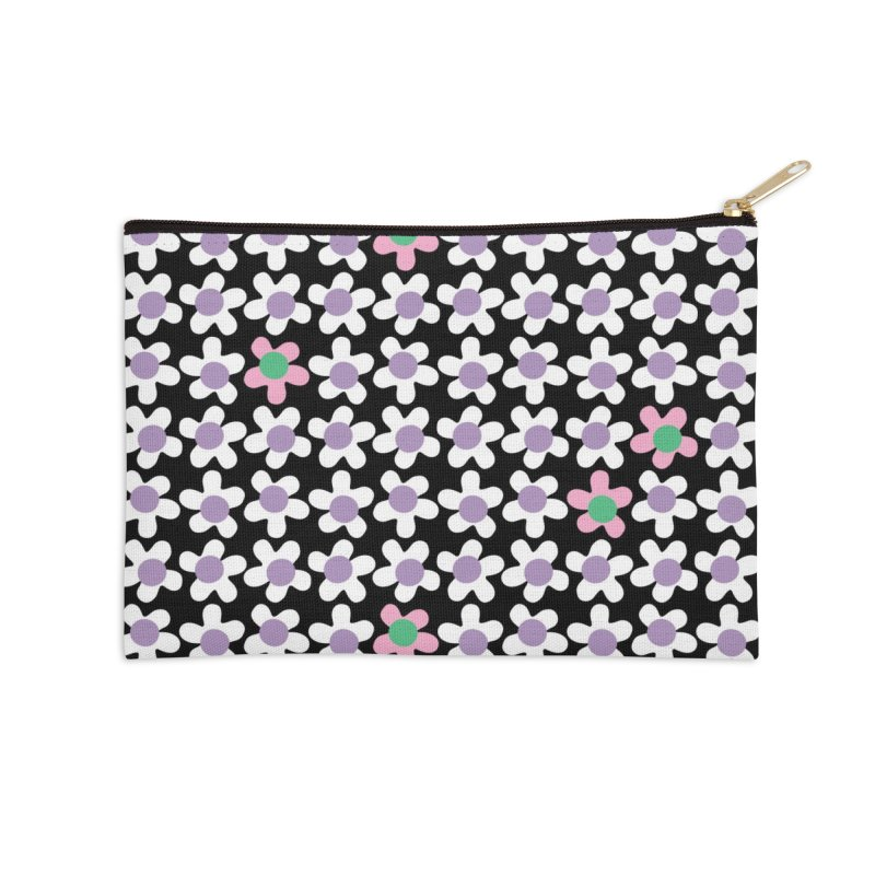 Black & White Daizy Field Accessories Zip Pouch by Peach Things Artist Shop