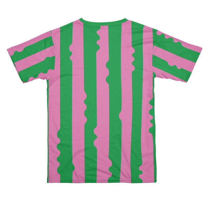 Wiggle Stripe- Pink/Green Men's Cut & Sew by Peach Things Artist Shop