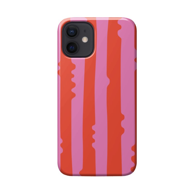 Wiggle Stripe- Pink/Red Accessories Phone Case by Peach Things Artist Shop