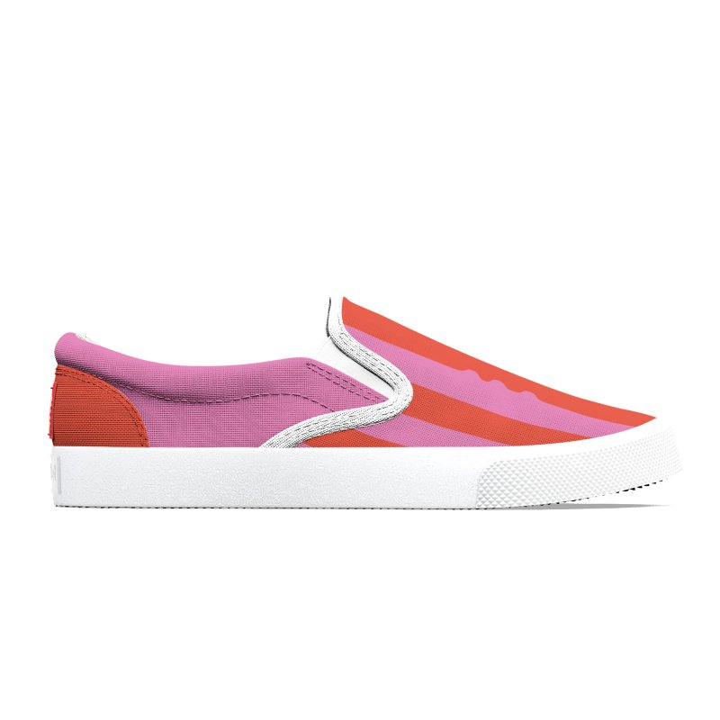 Wiggle Stripe- Pink/Red Women's Shoes by Peach Things Artist Shop