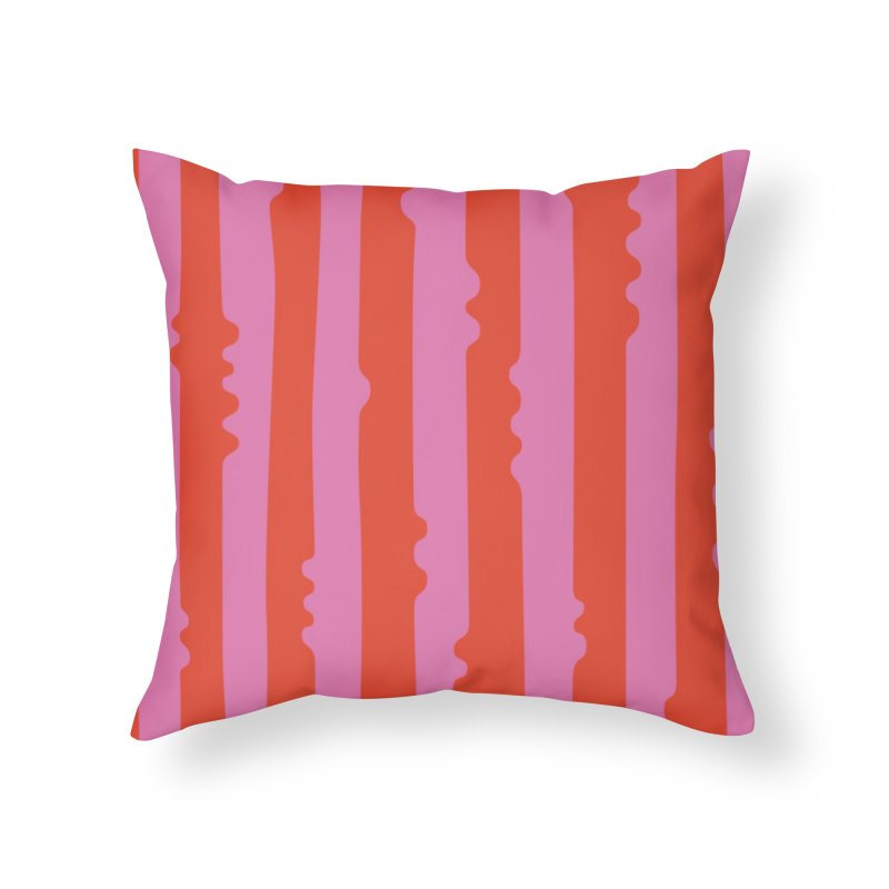 Wiggle Stripe- Pink/Red Home Throw Pillow by Peach Things Artist Shop