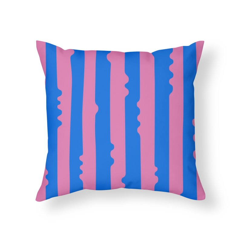 Wiggle Stripe- Pink/Blue Home Throw Pillow by Peach Things Artist Shop