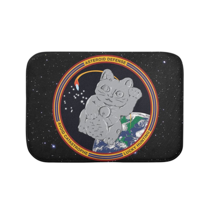 Stay Safe on Asteroid Day Home Bath Mat by Peregrinus Creative