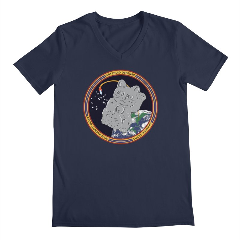 Stay Safe on Asteroid Day Men's Regular V-Neck by Peregrinus Creative