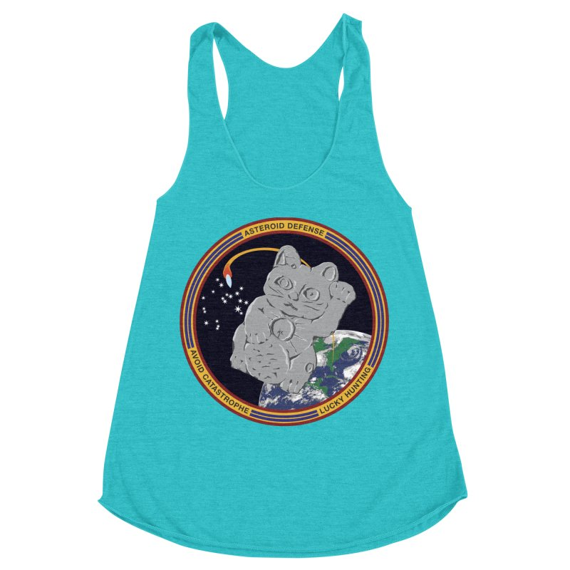 Stay Safe on Asteroid Day Women's Racerback Triblend Tank by Peregrinus Creative