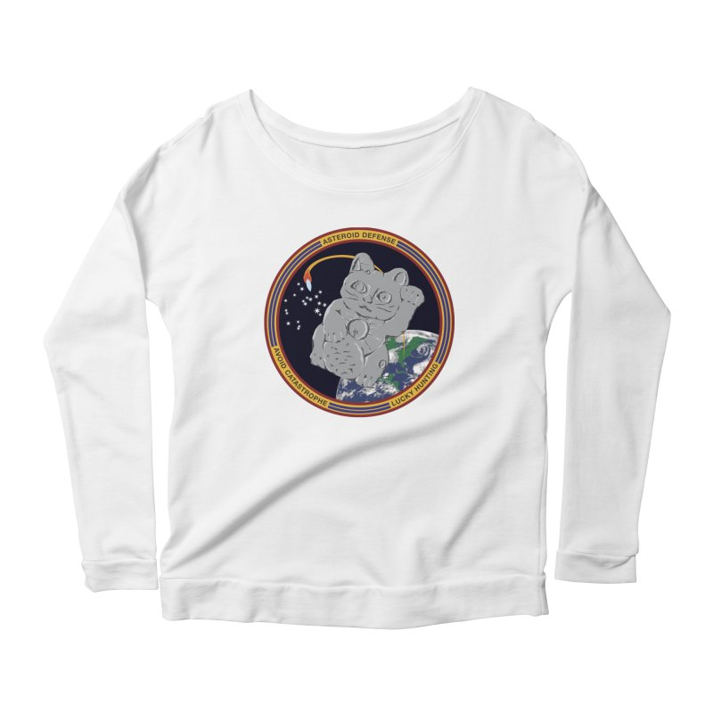 Stay Safe on Asteroid Day Women's Scoop Neck Longsleeve T-Shirt by Peregrinus Creative