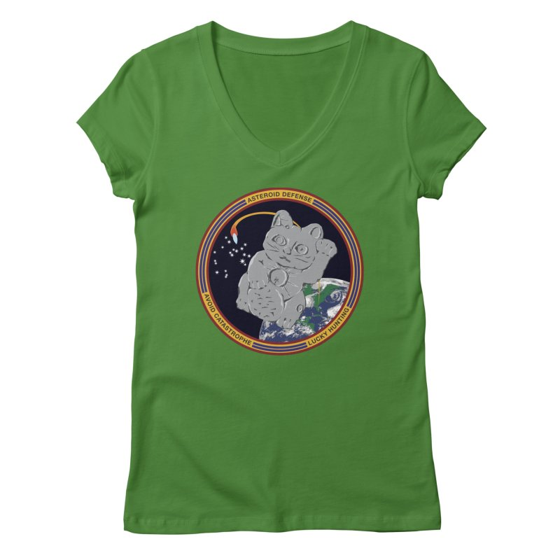 Stay Safe on Asteroid Day Women's Regular V-Neck by Peregrinus Creative