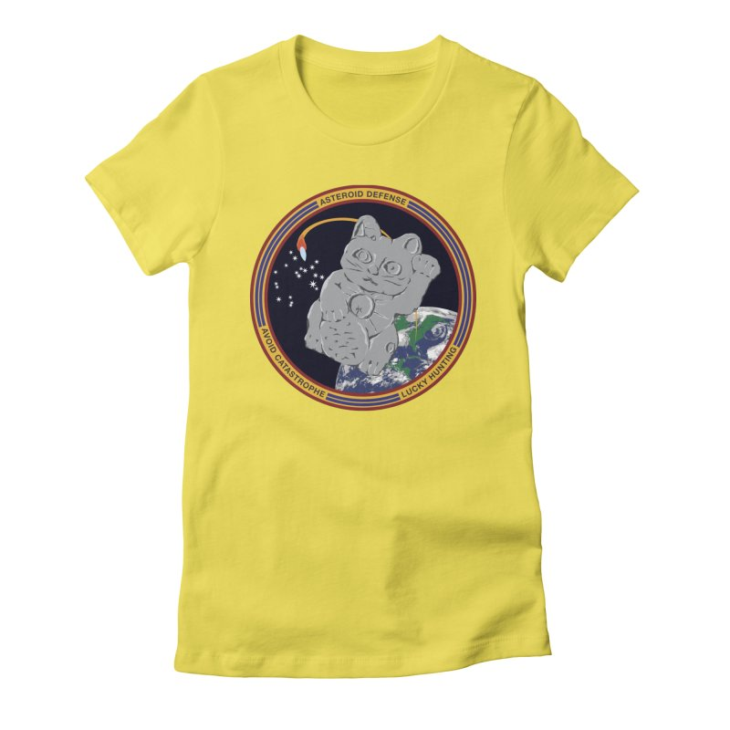 Stay Safe on Asteroid Day Women's Fitted T-Shirt by Peregrinus Creative