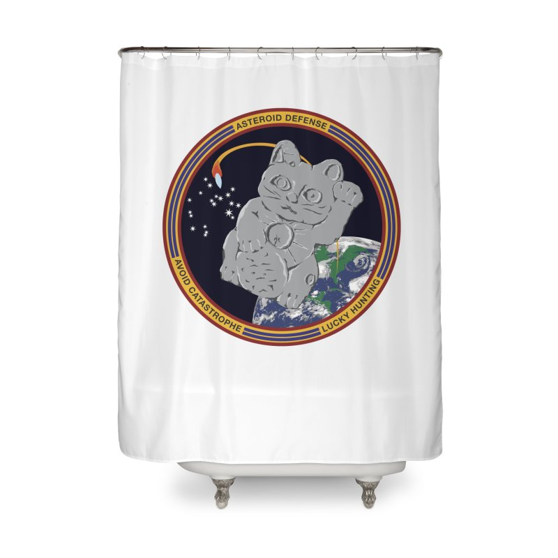 Stay Safe on Asteroid Day Home Shower Curtain by Peregrinus Creative