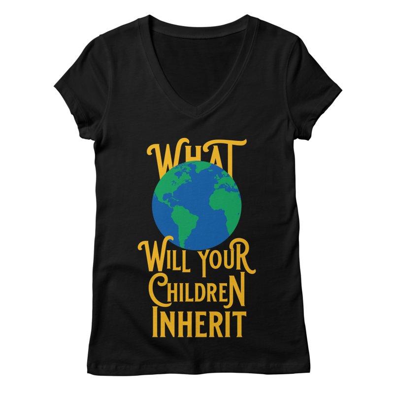 What World will Your Children Inherit Women's V-Neck by Peregrinus Creative