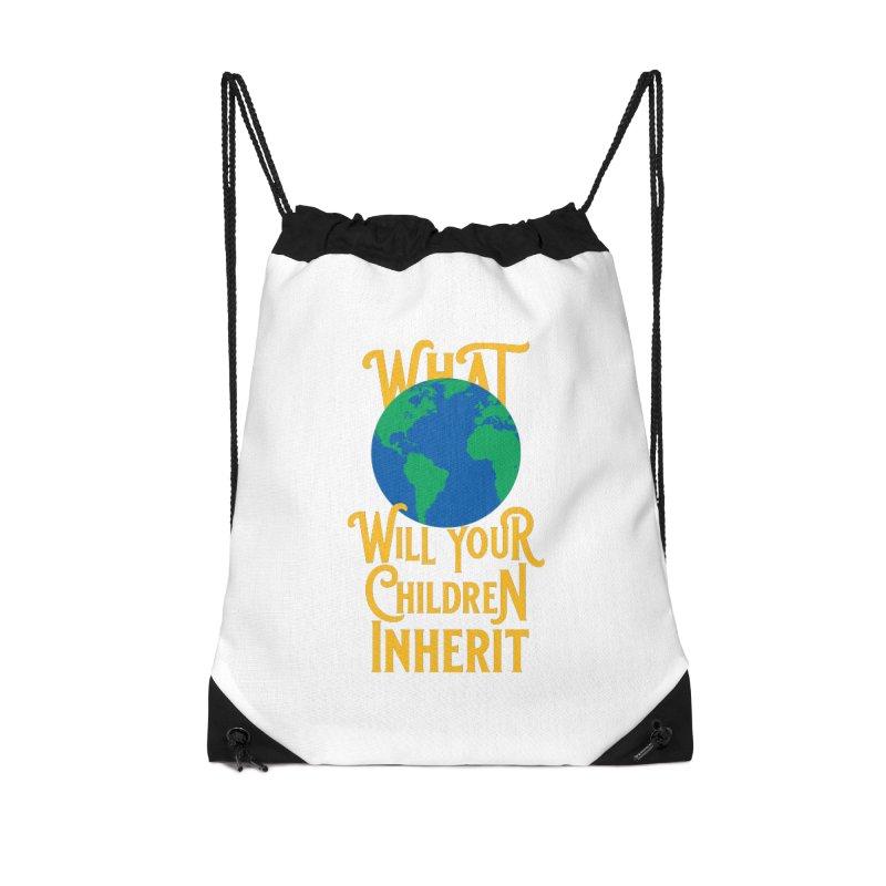 What World will Your Children Inherit Accessories Drawstring Bag Bag by Peregrinus Creative