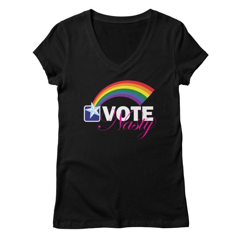 VOTE Nasty LGBTQ reversed Women's V-Neck by Peregrinus Creative